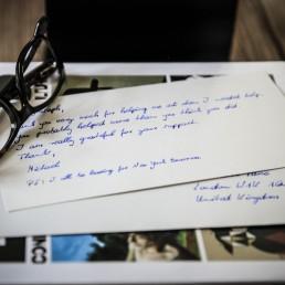Werbebriefe in Handschrift von Pensaki Muster